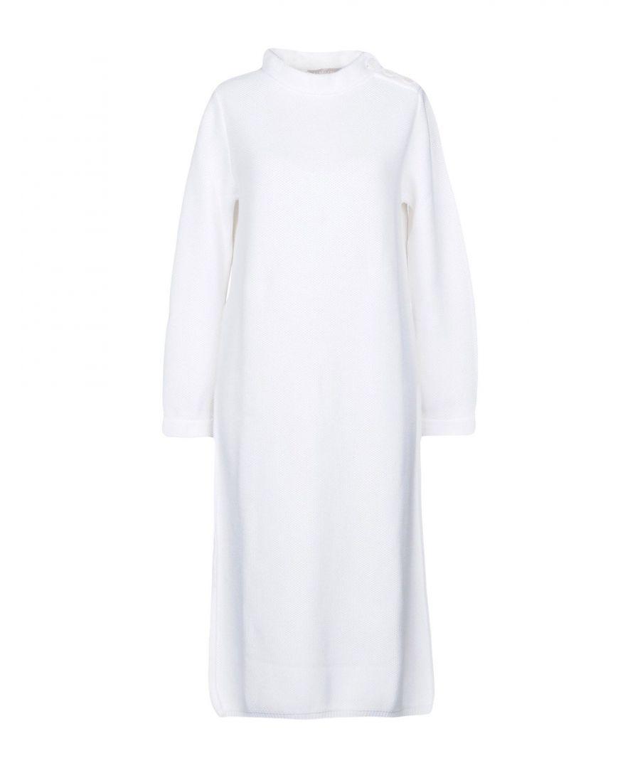 Image for Stefanel White Cotton Knit Long Sleeve Dress