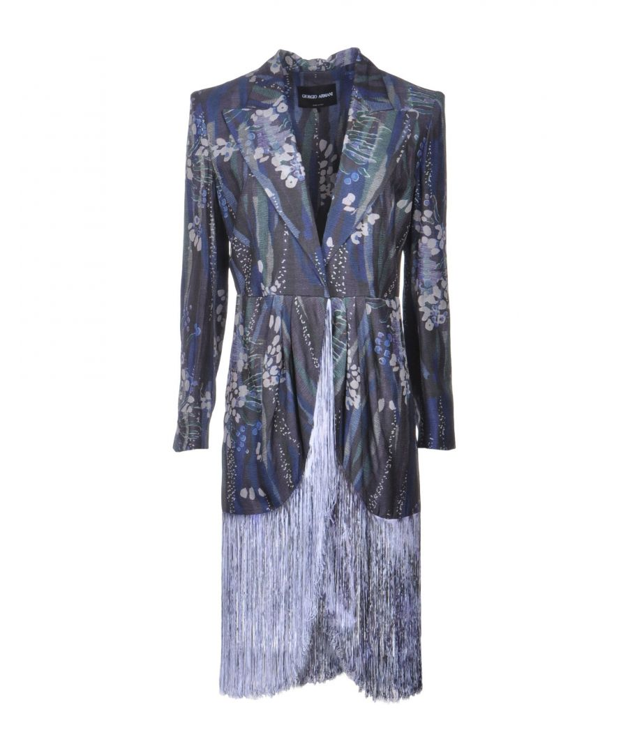 Image for Giorgio Armani Blue Print Silk Fringe Jacket