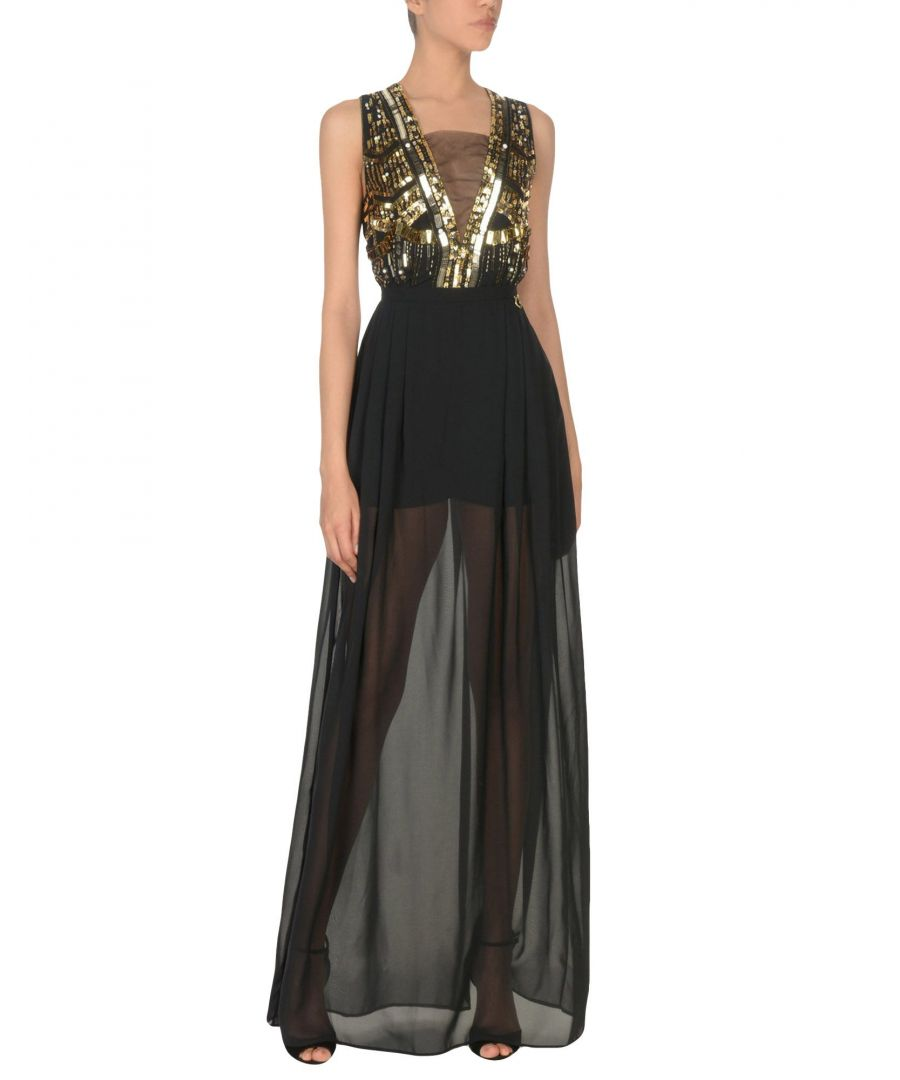Image for Mangano Black Chiffon Full Length Dress