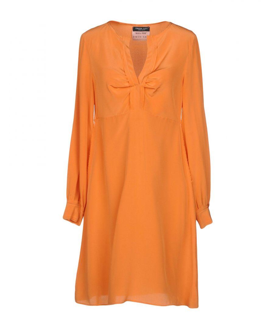 Image for Twinset Orange Silk Long Sleeve Dress