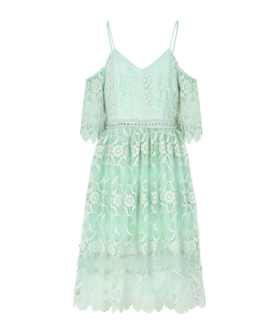 Image for True Decadence Light Green Lace And Tulle Dress