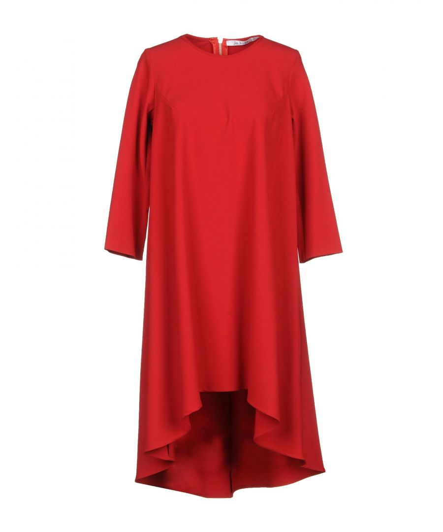 Image for La Kore Red Crepe Long Sleeve Trapeze Style Dress