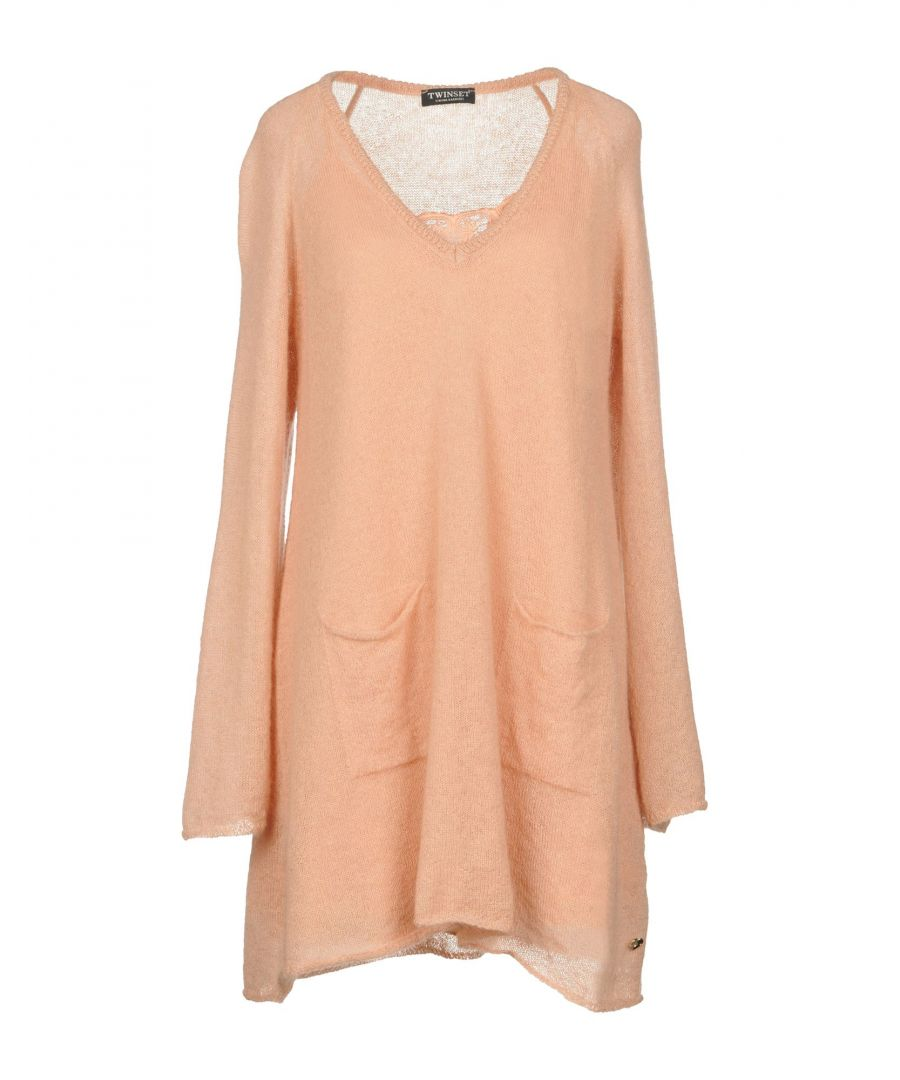 Image for Twinset Apricot Mohair Wool Long Sleeve Jumper Dress