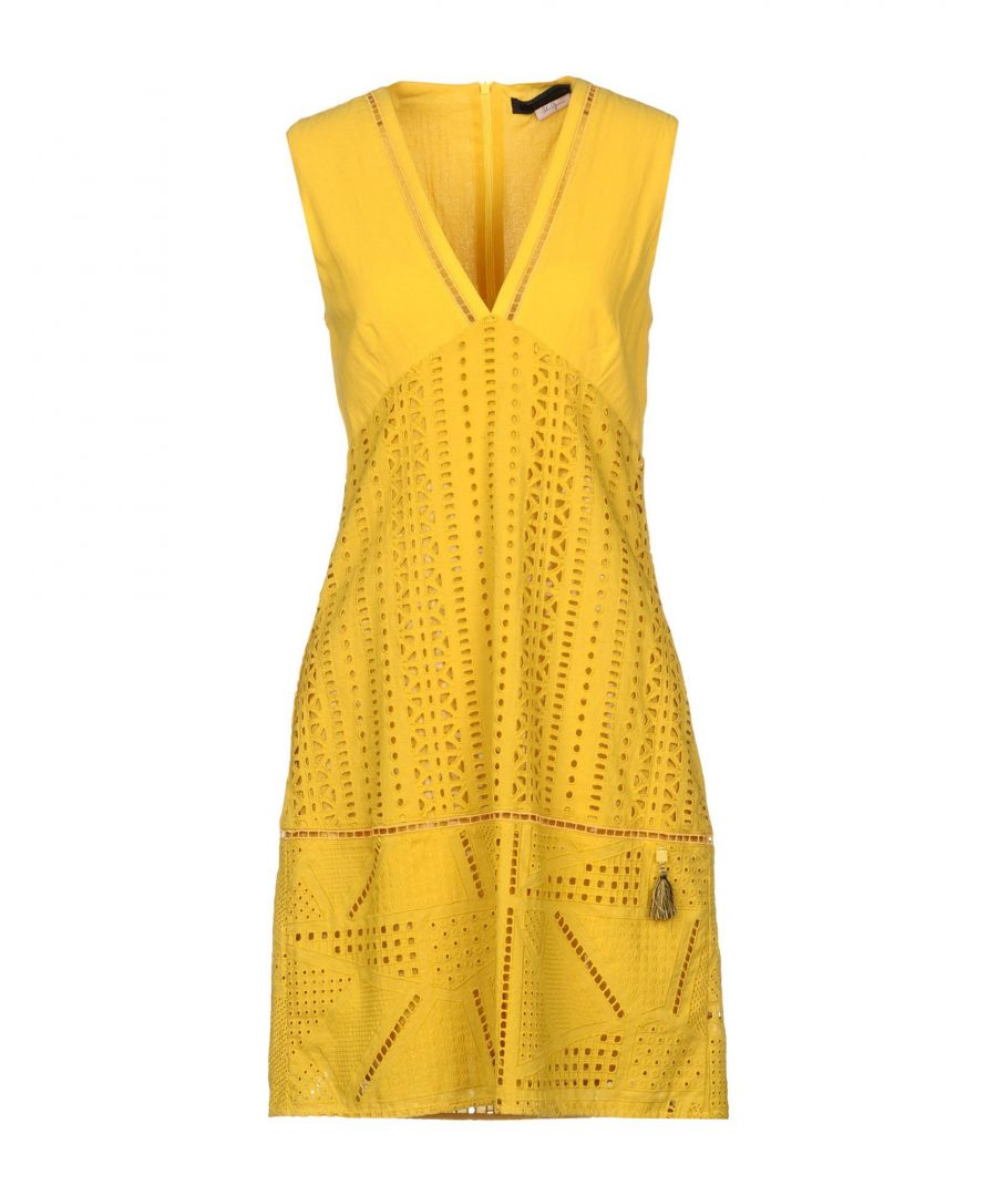 Image for Nenette Yellow Cotton Lace Sleeveless Dress