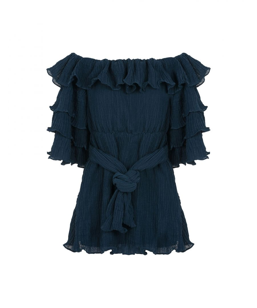 Image for C/Meo Collective Deep Jade Ruffle Belted Dress
