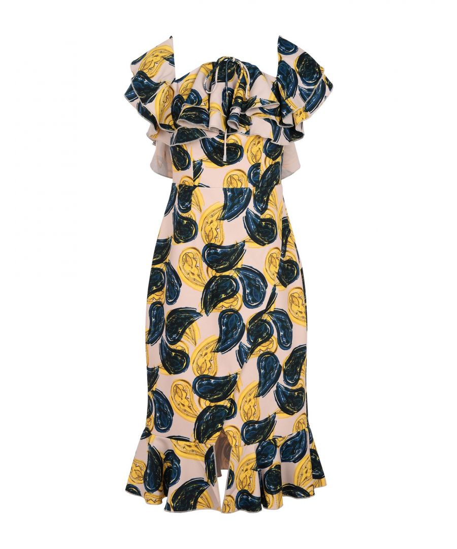 Image for C/Meo Collective Ochre Floral Print Ruffle Dress