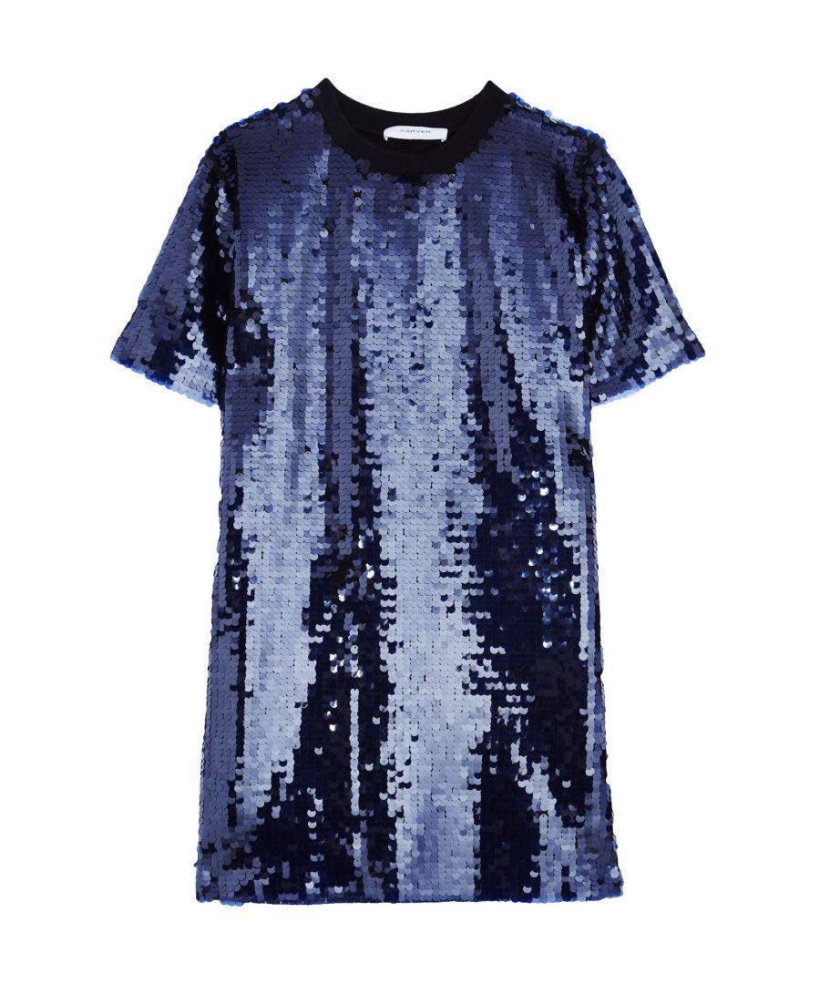 Image for Carven Dark Blue Sequinned Short Sleeve Dress