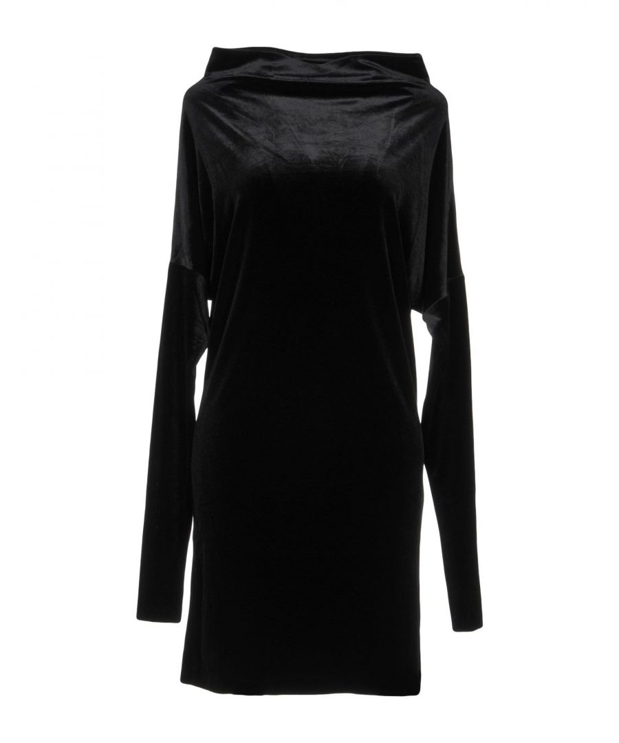 Image for Norma Kamali Black Chenille Long Sleeve Dress