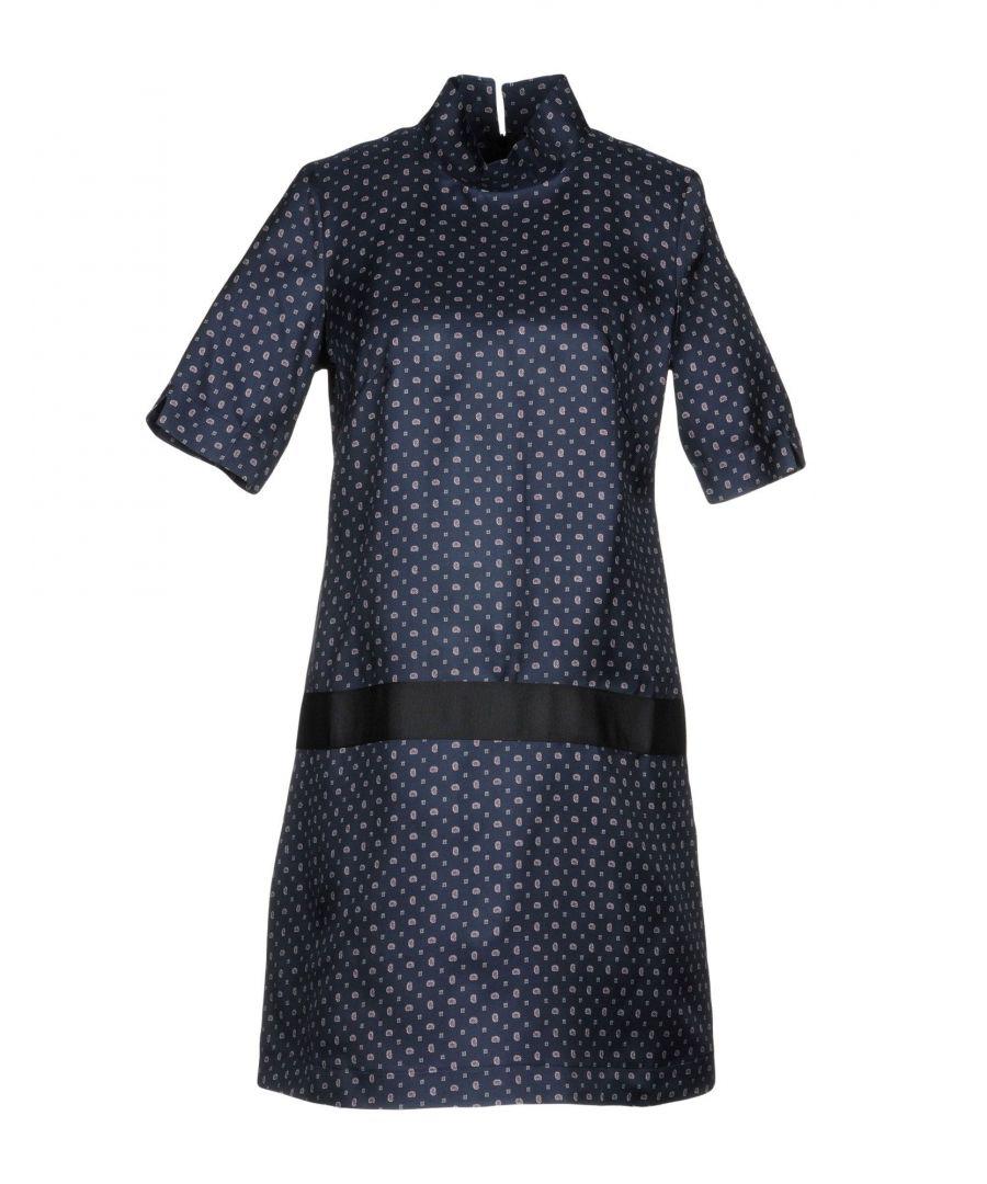 Image for Bini Como Dark Blue Print Short Sleeve Dress