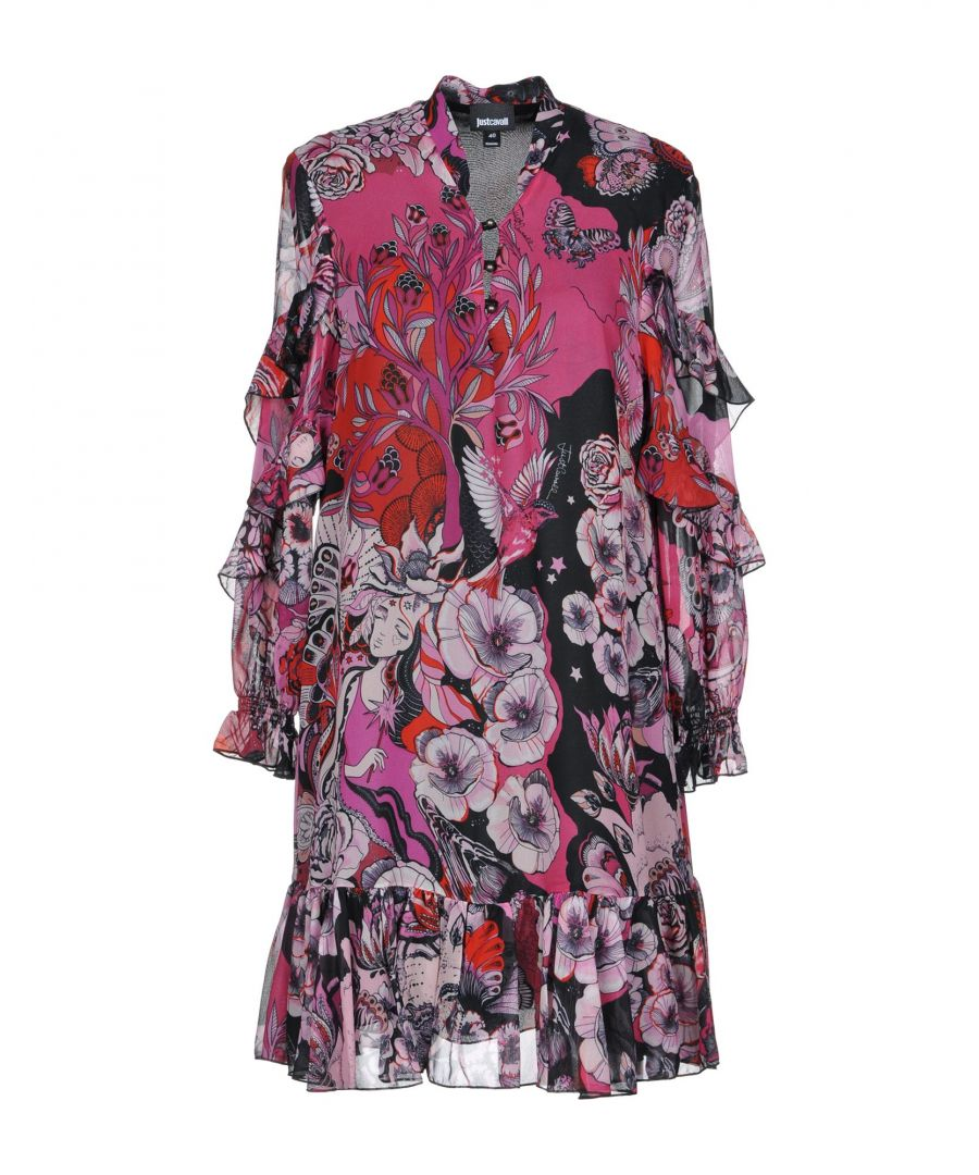 Image for Just Cavalli Fuchsia Print Short Dress