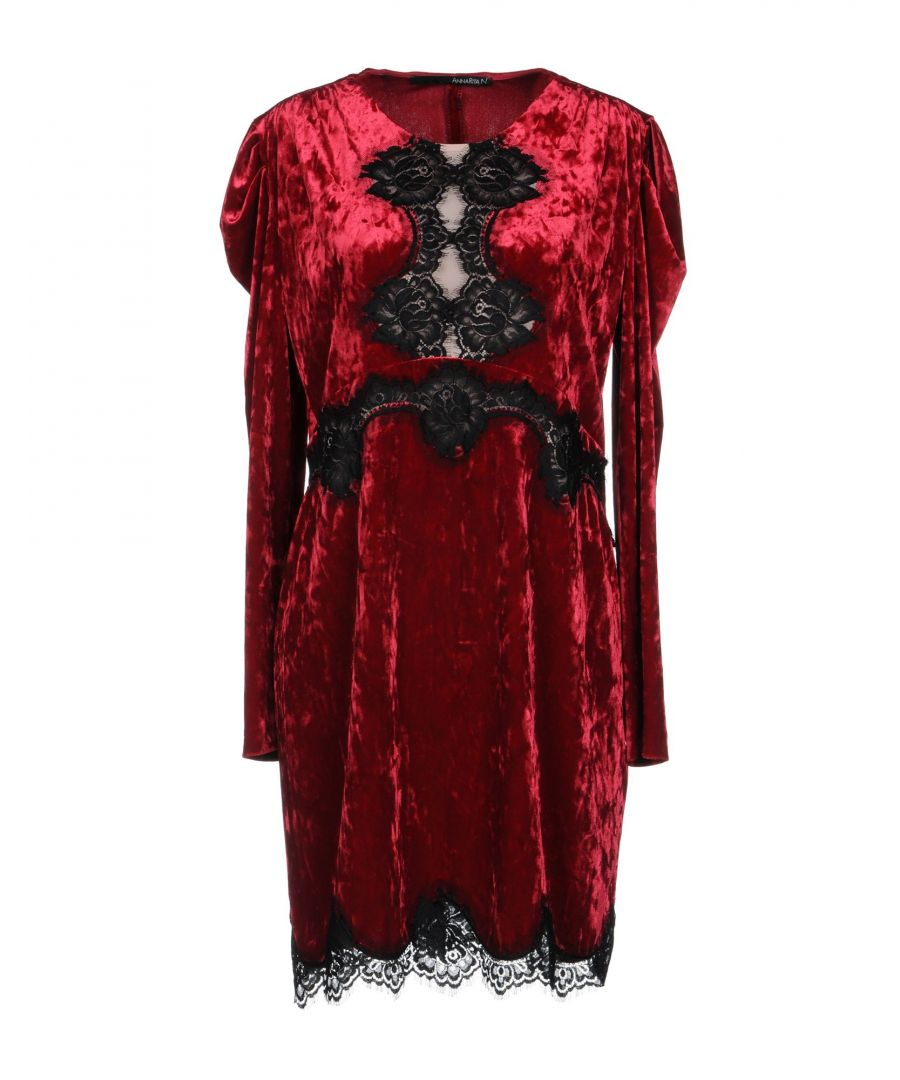 Image for Annarita N Garnet Lace And Chenille Long Sleeve Dress