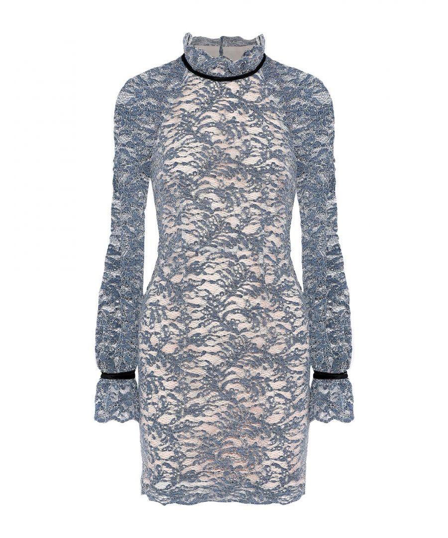 Image for Rebecca Vallance Slate Blue Cotton Lace Dress