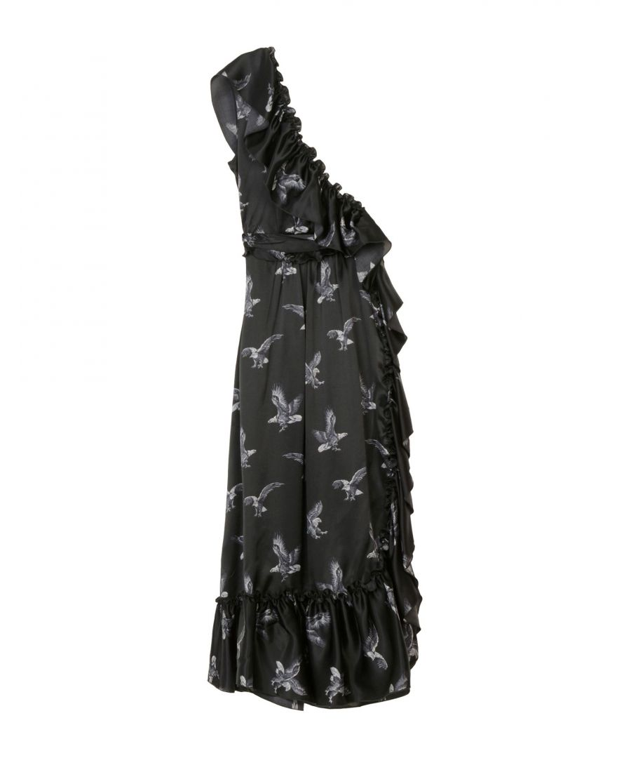Image for MSGM Black Silk Asymmetric Dress