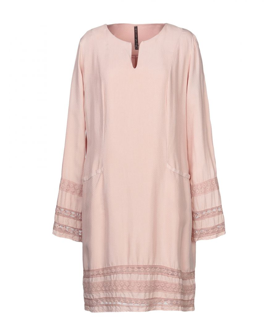Image for Manila Grace Pale Pink Long Sleeve Dress