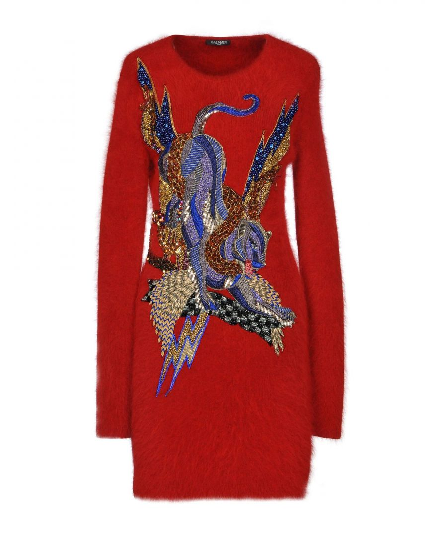 Image for Balmain Red Angora Sequinned Knit