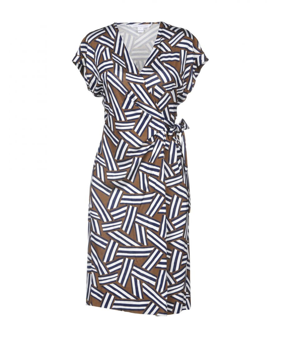 Image for Diane Von Furstenberg Dark Blue Print Silk Wrap Dress