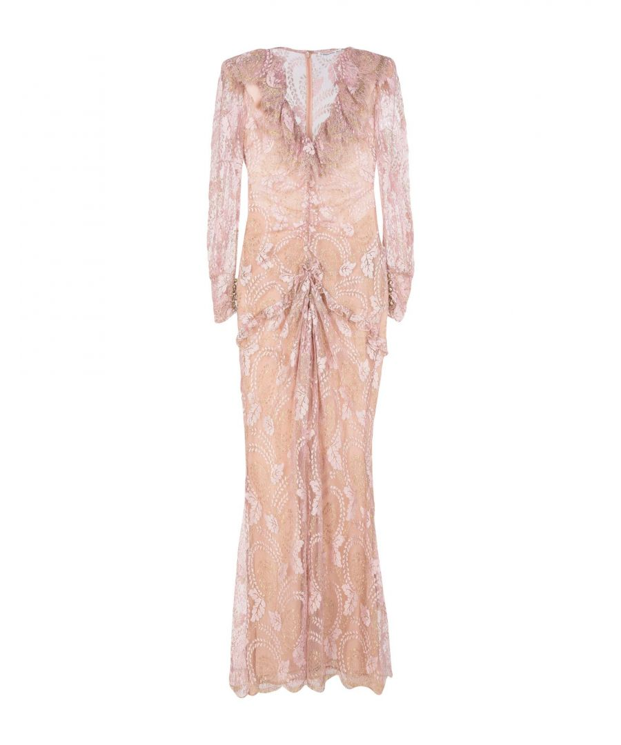 Image for Alessandra Rich Pink Lace With Metallic Fibre Full Length Dress