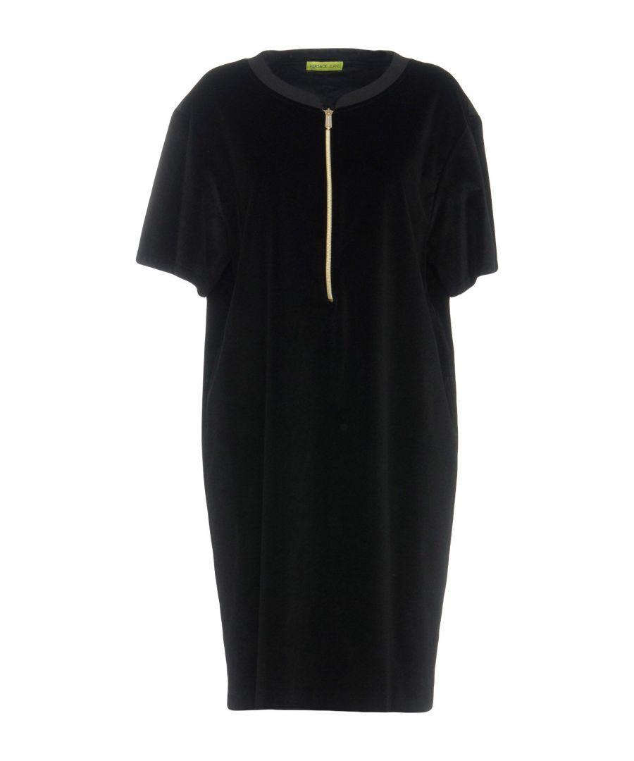 Image for Versace Jeans Black Cotton Velvet Dress