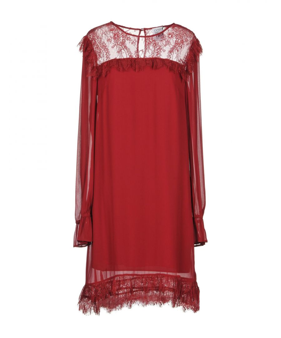 Image for My Twin Twinset Maroon Lace Long Sleeve Dress