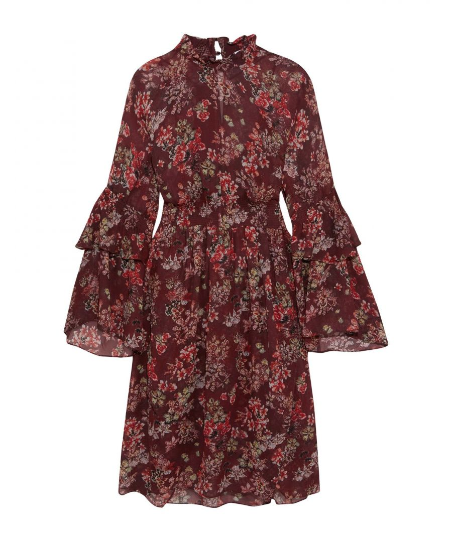 Image for Iro Maroon Floral Print Flared Sleeve Dress