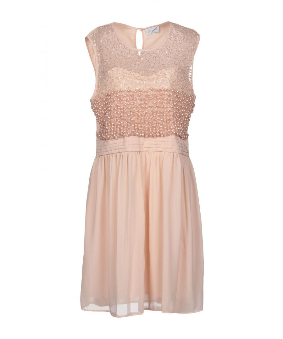 Image for La Kore Pink Crepe And Tulle Sequinned Sleeveless Dress