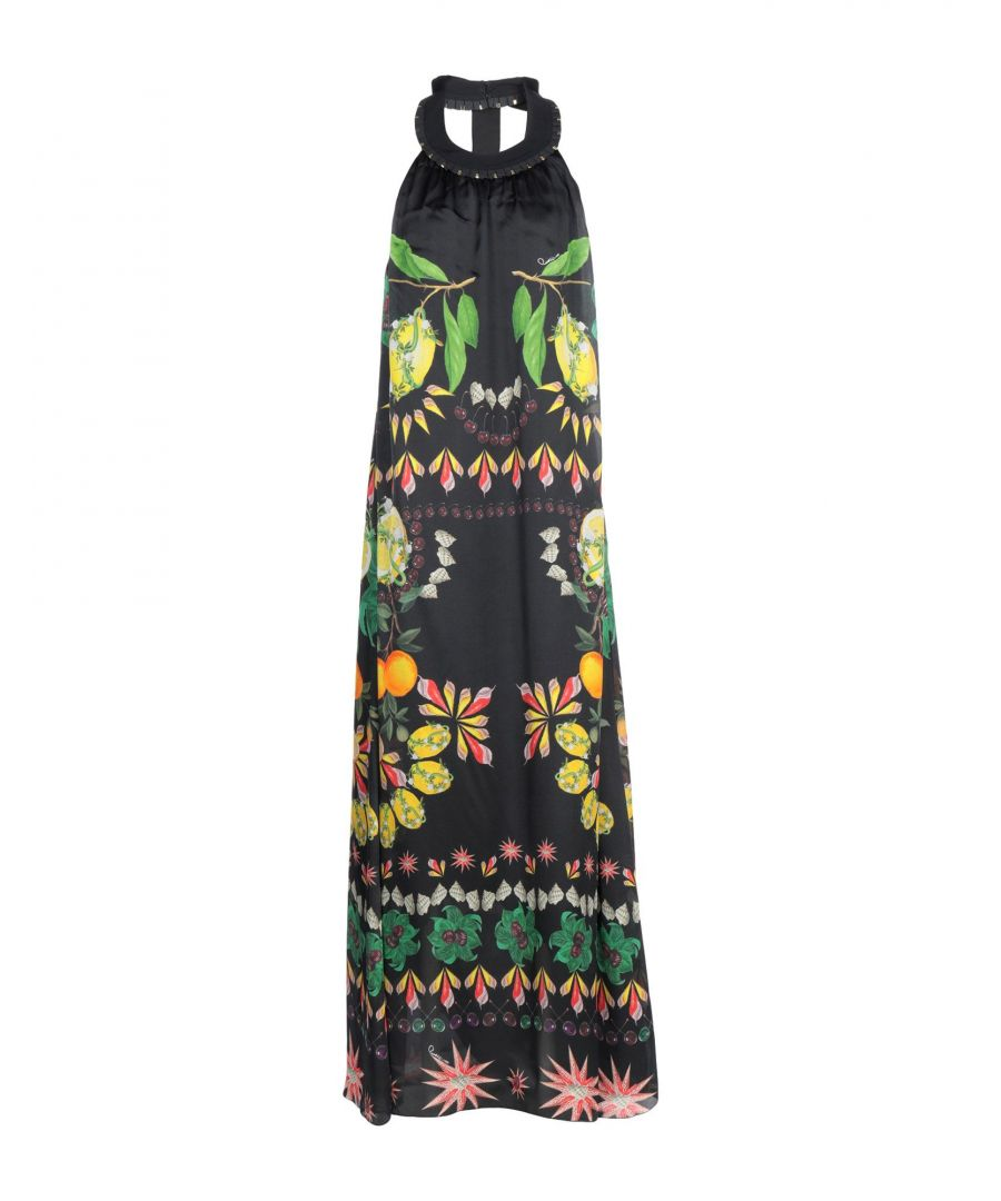 Image for Cavalli Class Black Print Silk Full Length Dress