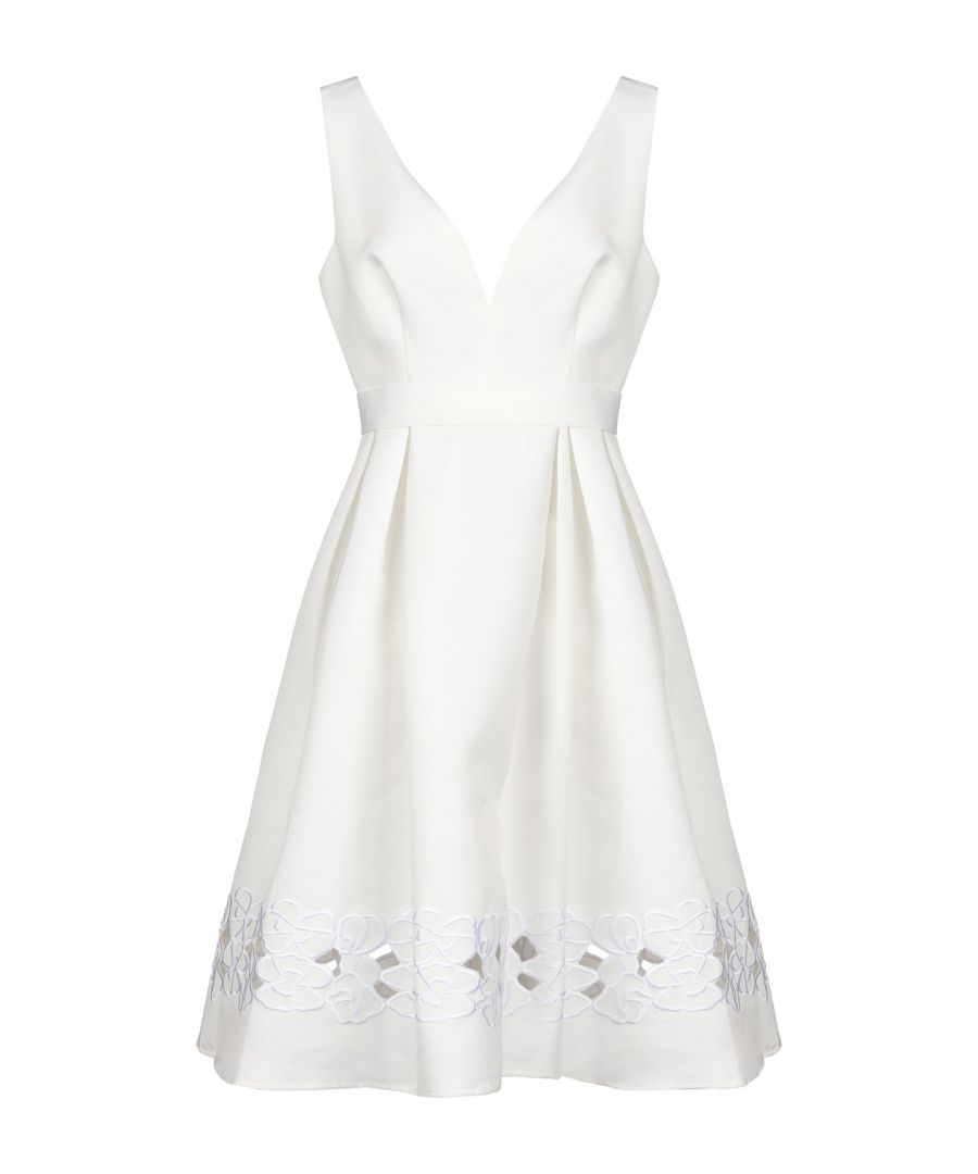 Image for By Malina Ivory Twill Embroidered Dress