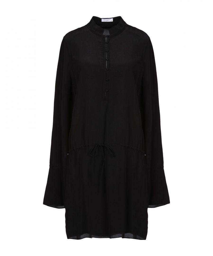 Image for Equipment Black Silk Long Sleeve Shirt Dress