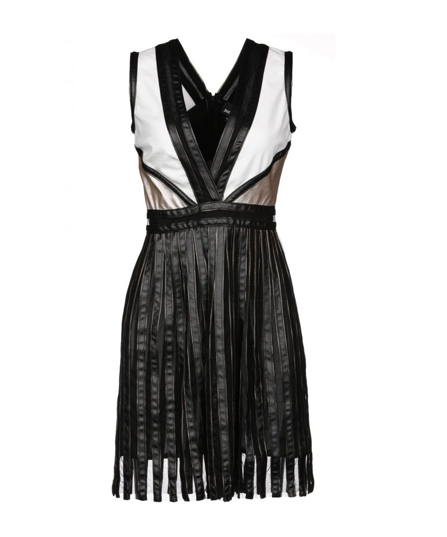 Image for Just Cavalli White Coated Fabric Deep Neckline Dress