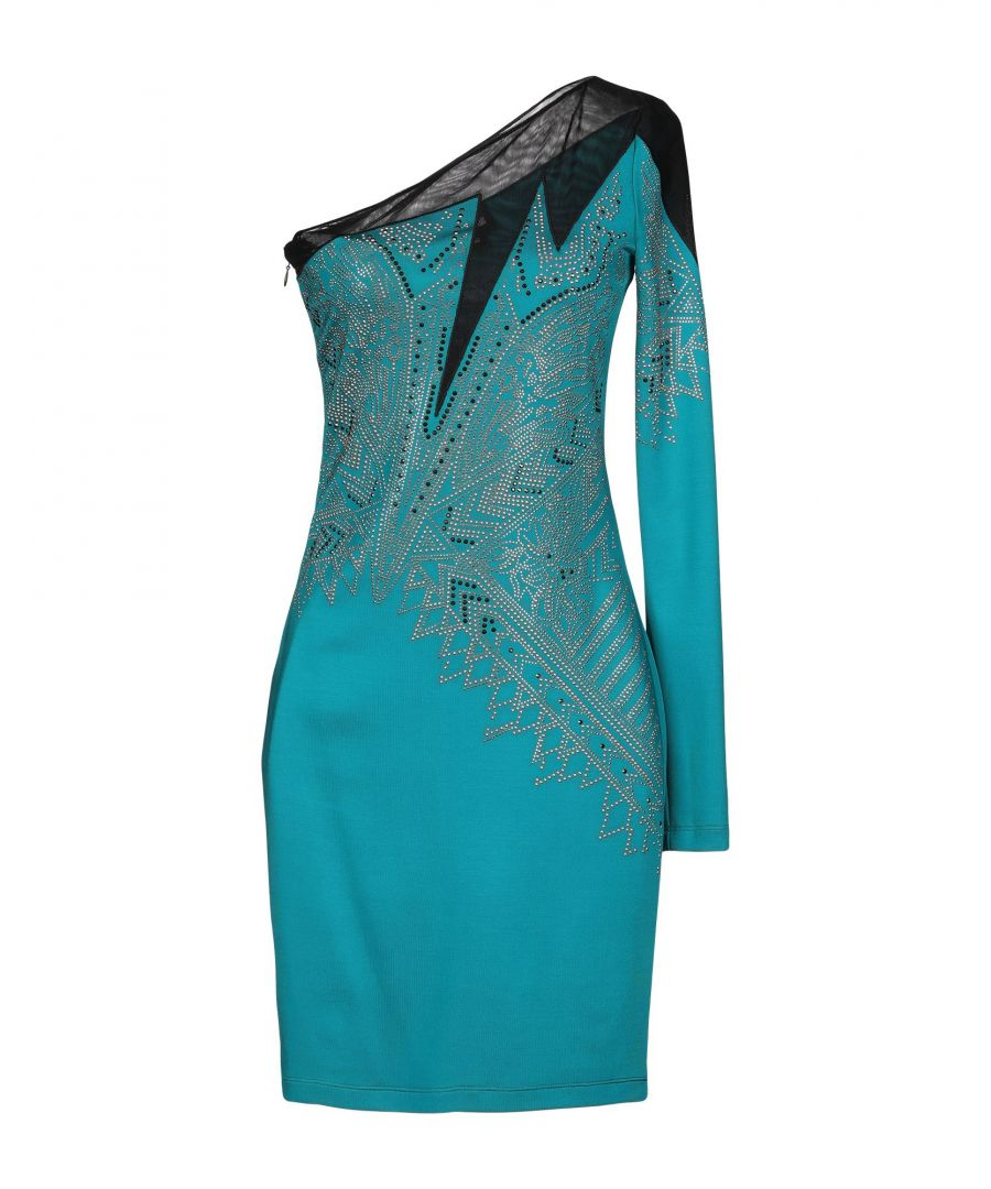 Image for Just Cavalli Deep Jade Print Asymmetrical Dress
