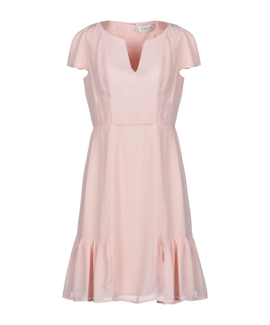 Image for By Malina Pink Crepe Short Sleeve Dress