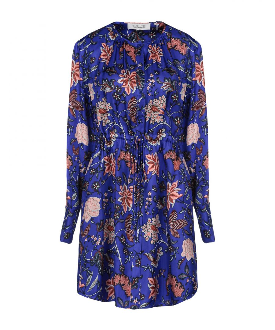 Image for Diane Von Furstenberg Bright Blue Print Silk Dress