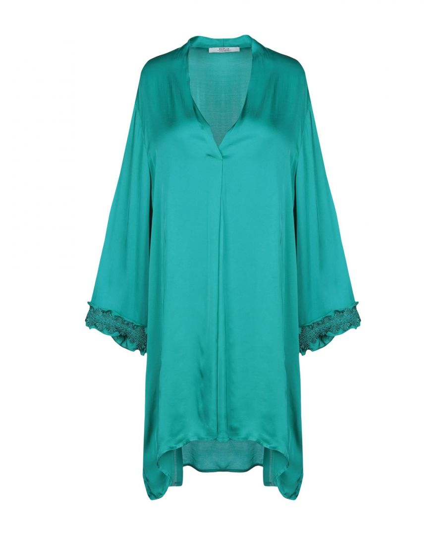 Image for Replay Deep Jade Satin And Lace Long Sleeve Dress