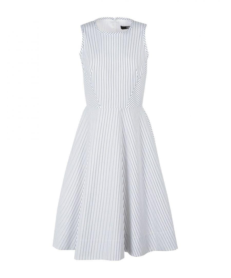 Image for Karl Lagerfeld White Stripe Cotton Sleeveless Dress