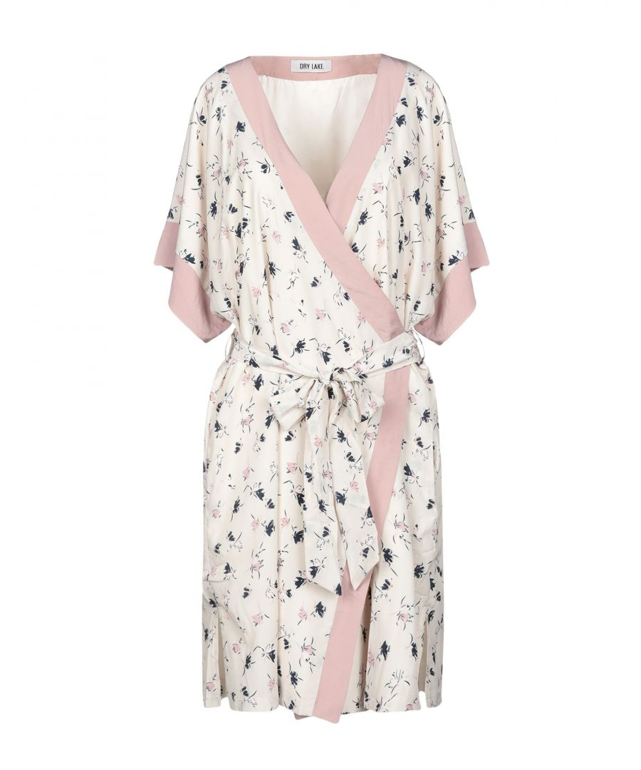 Image for Dry Lake. Beige Floral Print Wrap Dress