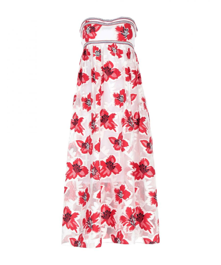 Image for Tory Burch Red Floral Design Embroidered Dress