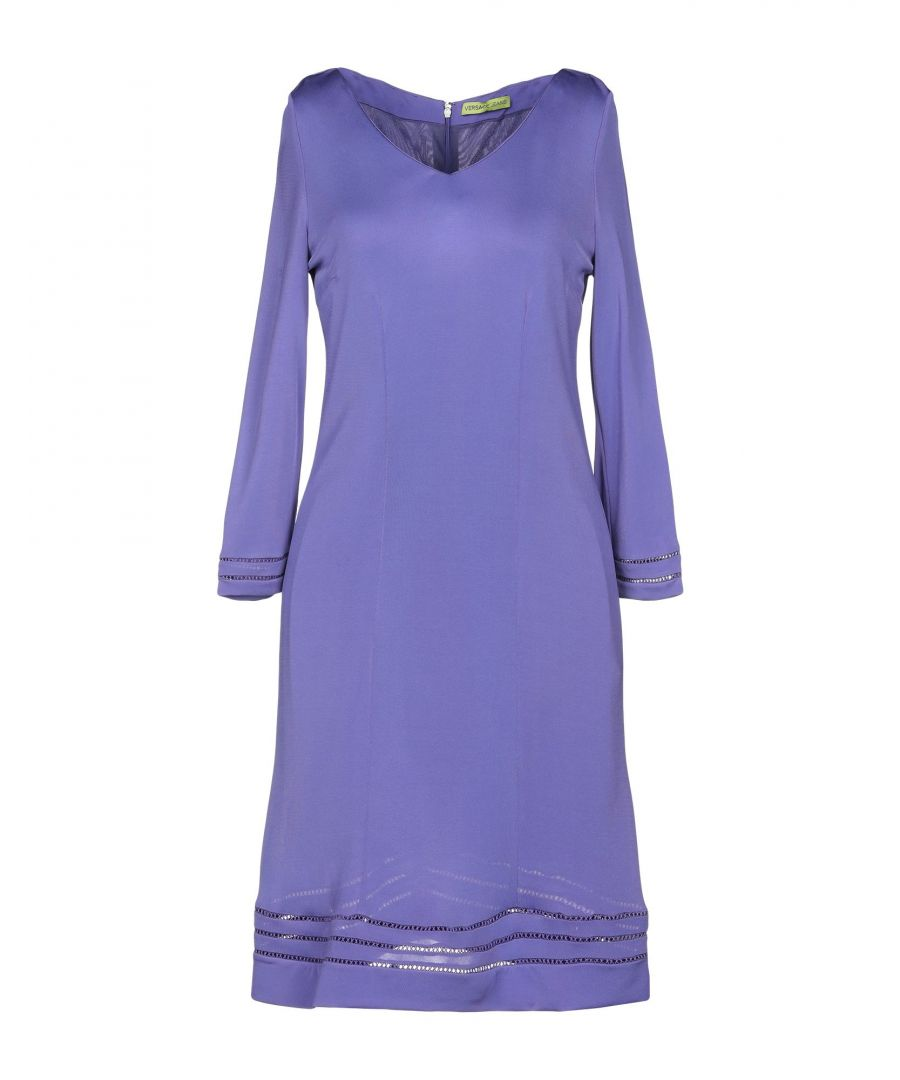 Image for Versace Jeans Purple Jersey Long Sleeve Dress