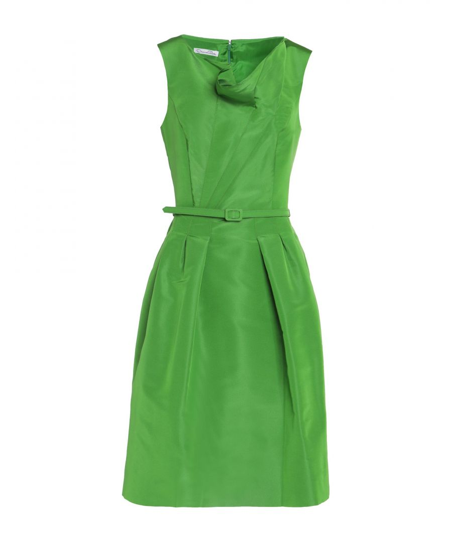 Image for Oscar De La Renta Green Silk Knee-Length Dress