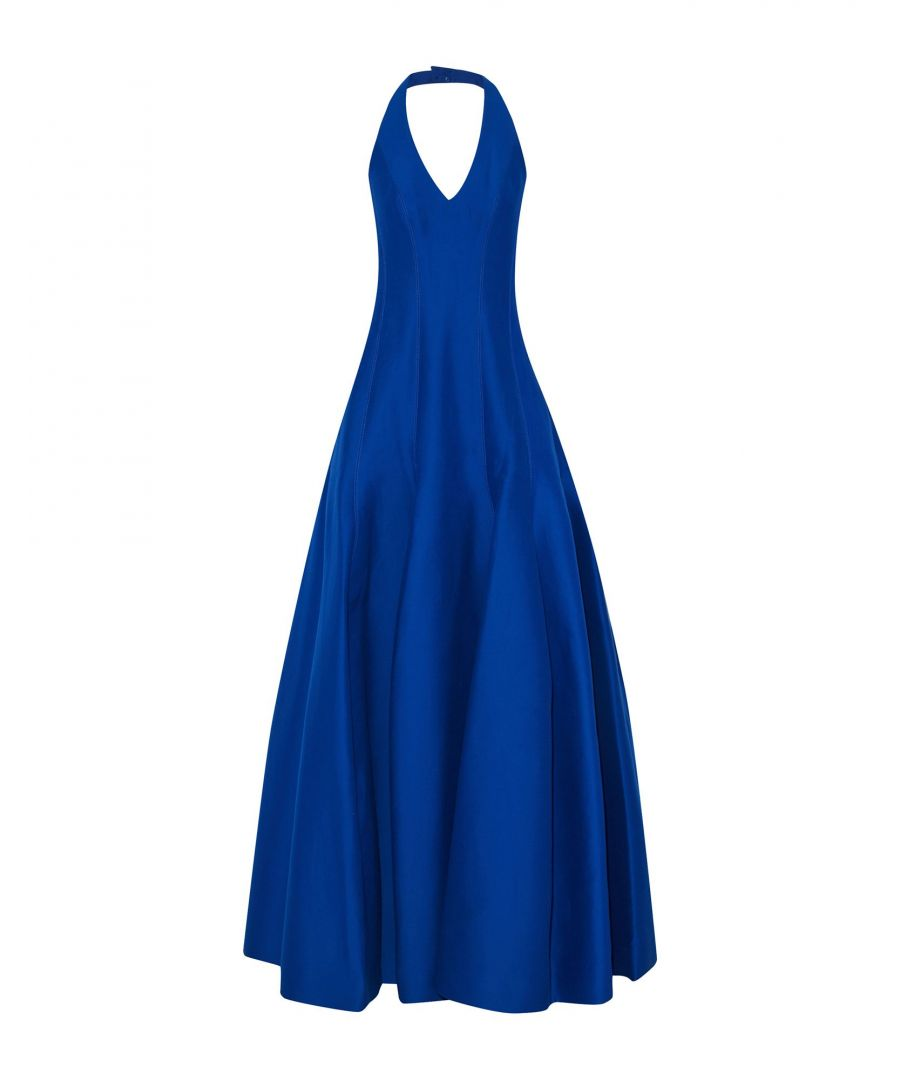 Image for Halston Bright Blue Cotton Full Length Dress