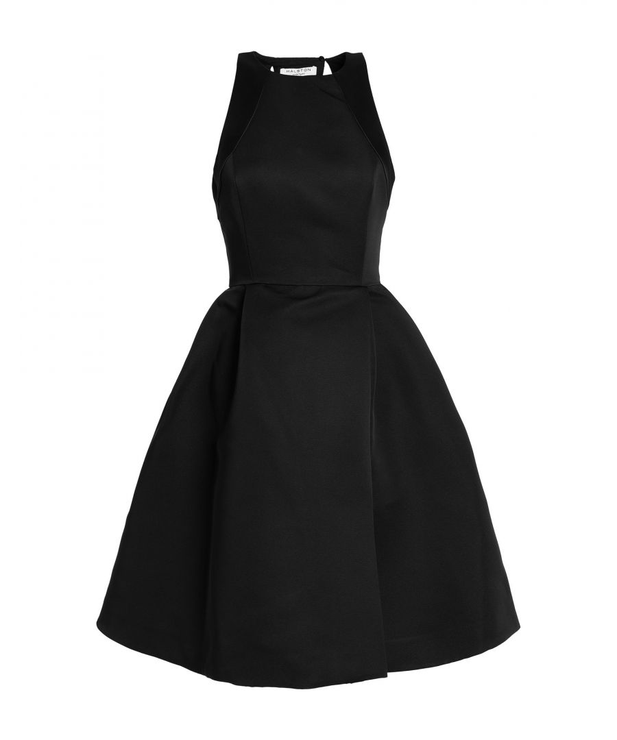 Image for Halston Black Twill And Satin Flared Dress