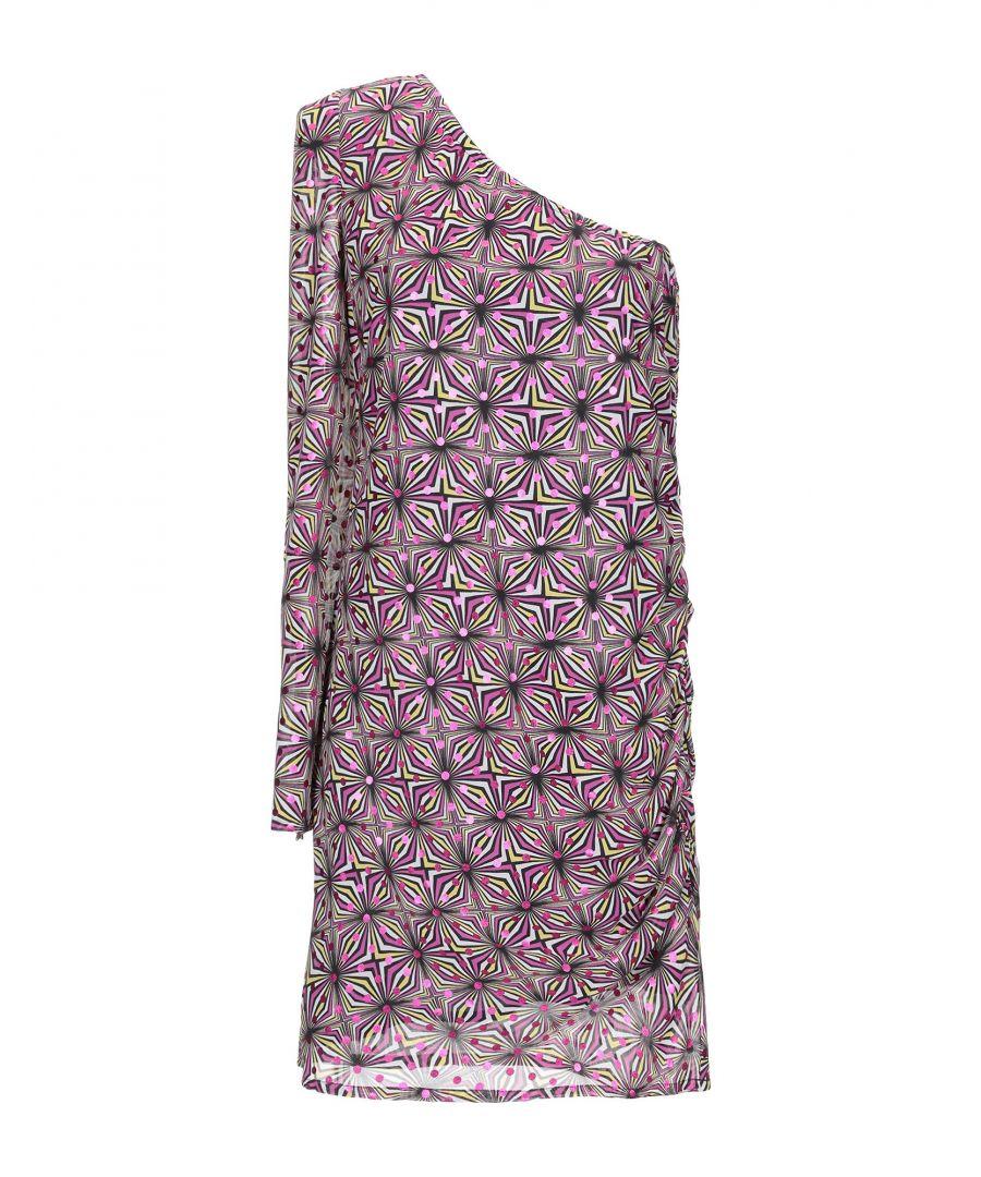 Image for Patrizia Pepe Fuchsia Optical Print Asymmetrical Dress