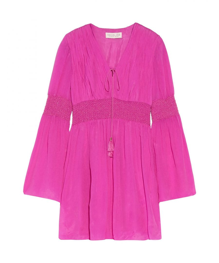 Image for Rachel Zoe Fuchsia Silk Long Sleeve Dress