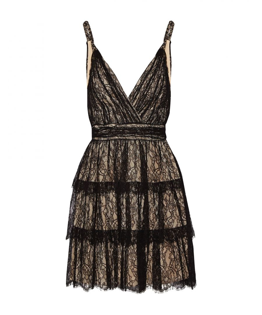 Image for Alice + Olivia Black Tiered Lace Dress