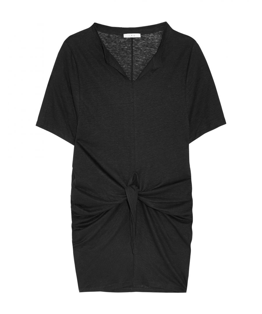 Image for Iro Black Linen Short Sleeve Dress