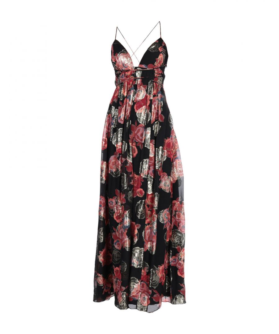 Image for Free People Black Print Silk Full Length Dress