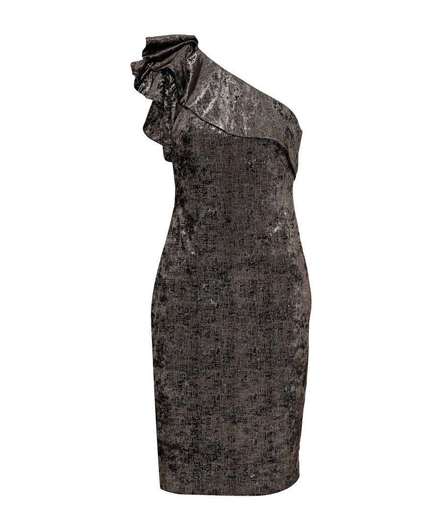 Image for Badgley Mischka Bronze One Shoulder Dress