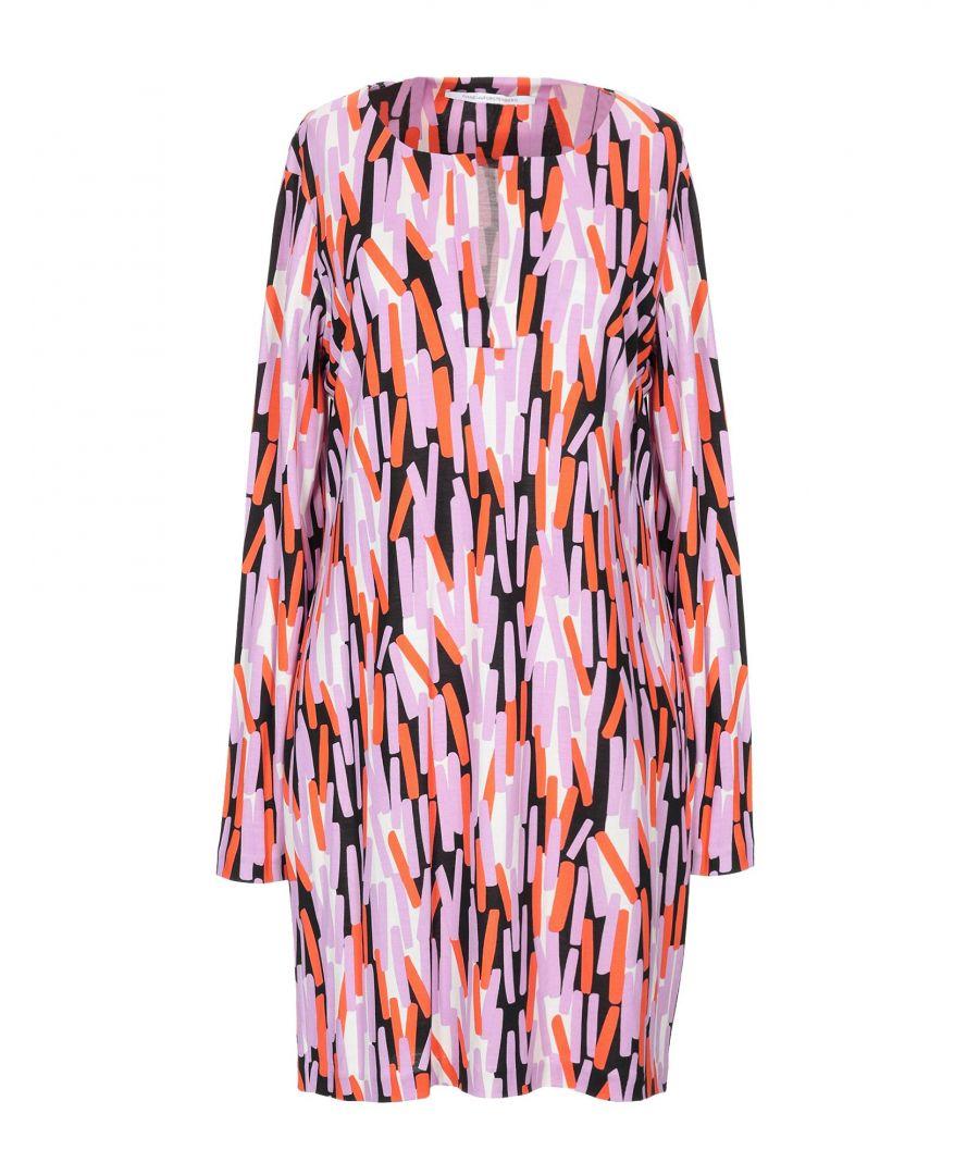 Image for Diane Von Furstenberg Orange Print Silk Dress