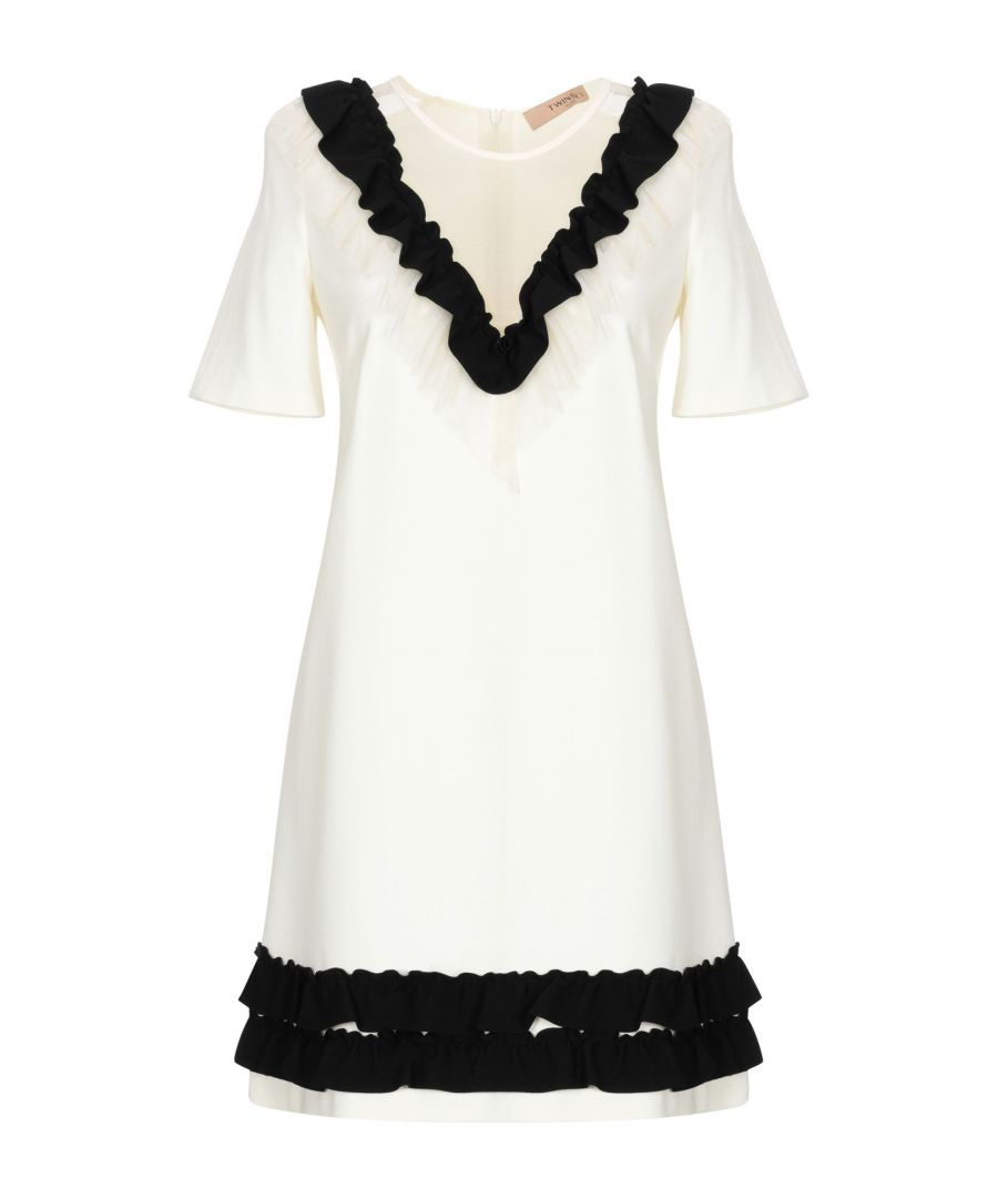 Image for Twinset Ivory Ruffle Detail Trapeze Style Dress