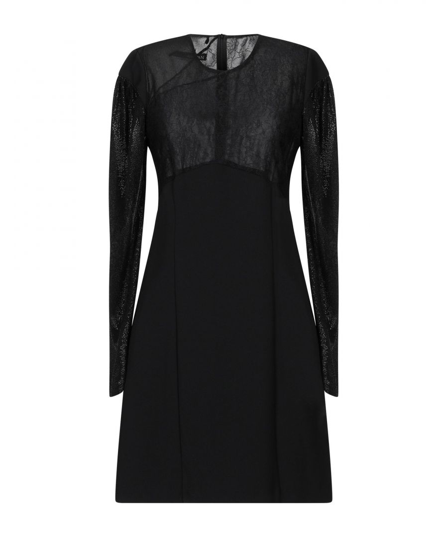 Image for Annarita N Black Lace And Crepe Long Sleeve Dress
