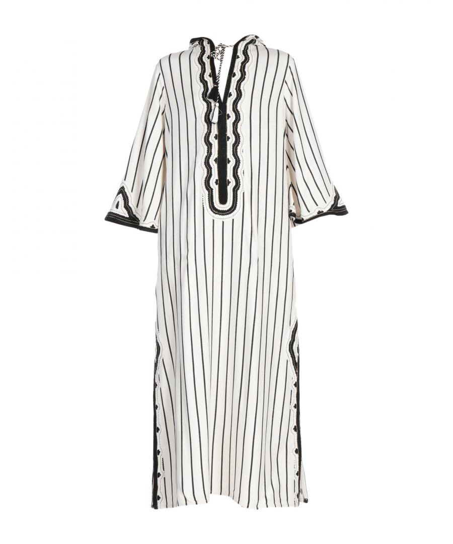 Image for Tory Burch White Stripe Kaftan Dress